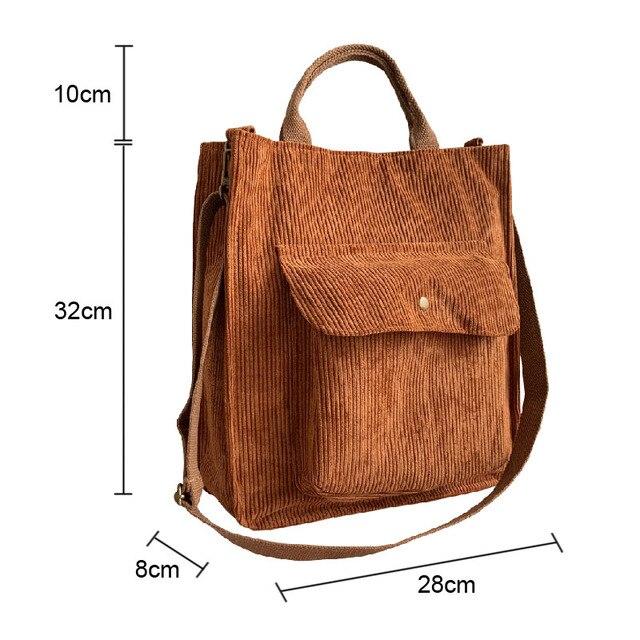 Hylhexyr Corduroy Shoulder Bag Women Vintage Shopping Bags Zipper Girls Student Bookbag Handbags Casual Tote With Outside Pocket 2