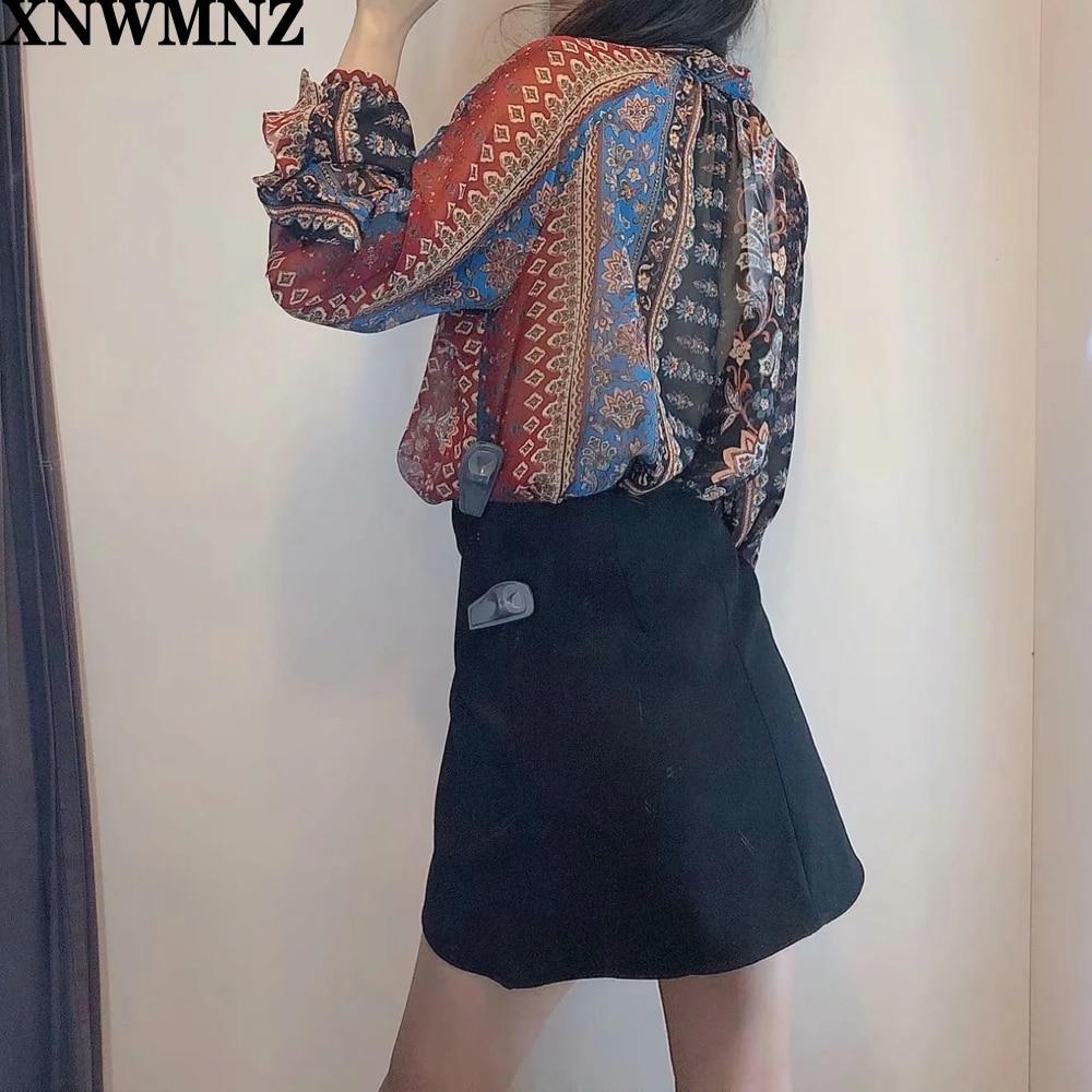 Купить xnwmnz za женская винтажная блузка с цветочным принтом лоскутная