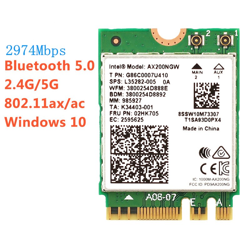 2974Mbps Dual Band 802.11ax Intel <font><b>Wifi</b></font> 6 AX200NGW 160MHz Wireless Wlan Wi-Fi Card Adapter For Intel <font><b>AX200</b></font> With BT 5.0 MU-MIMO image