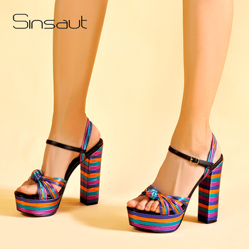 Sinsaut Summer Shoes Woman Heel Sandal High Heels Wedges Sandals Women Platform Sandals Square Heel Wedges Shoes For Women creativesugar crystal butterfly charm woman satin wedges stable med heel wedding prom shoes purple red silver grey royal blue
