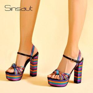 Image 1 - Sinsaut 夏靴の女性のかかとサンダルハイヒールウェッジサンダルの女性プラットフォームサンダルスクエアヒール女性のための
