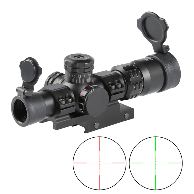 Tactical Riflescope Spotting Scope for Rifle Hunting Optical Collimator Short Airsoft Sight Red Green Reticle MARCH 2-8X20IR 1