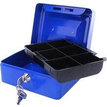Caja fuerte de acero con cerradura de llave portátil, Mini caja de almacenamiento de dinero de seguridad, moneda oculta, joyería