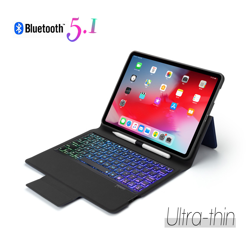 Bluetooth 5 Wireless Keyboard Protective Case Cover for iPad 2019 7th 10.2 with Pen Slot Holder Backlit A2197 A2200 A2198 A2232