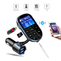 Smart Dual USB Phone Car Charger with 1.4inch Bluetooth Operation Platform for Car Navigation Voice Handsfree Call FM MP3 Player