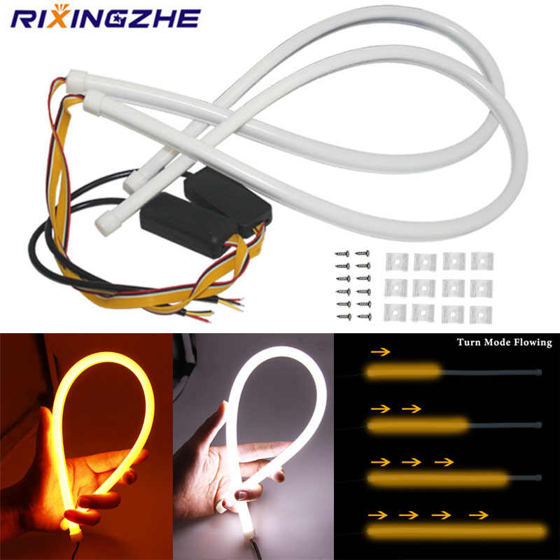 2PCS DRL Mengalir LED Strip Mobil Lampu Angel Eyes LED 30Cm 45Cm 60Cm Tube Strip siang Hari Lampu LED Fleksibel