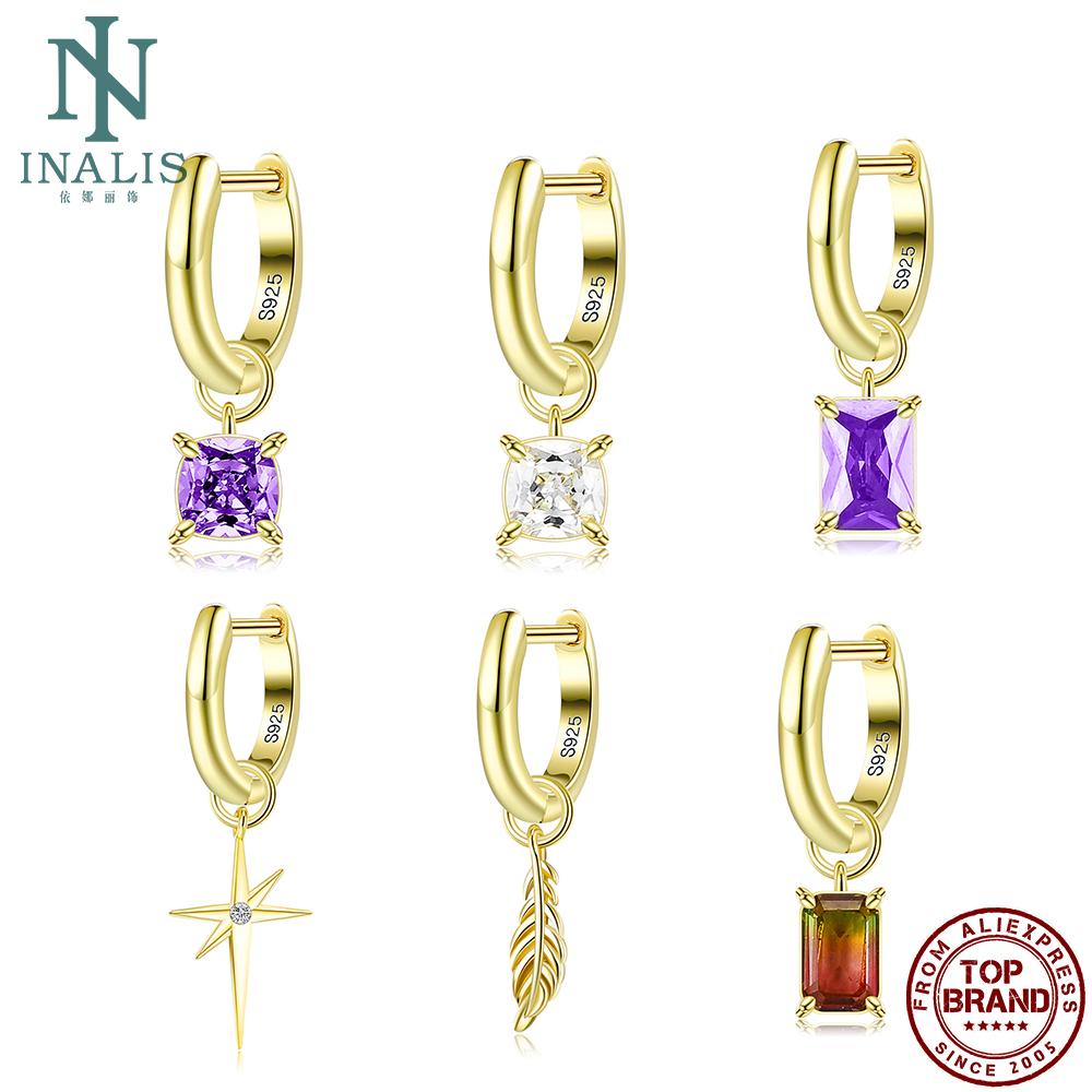 INALIS 925 Sterling Silver Drop Earring Separable Pendant Special Earrings For Women Colorful Luxury Fine Jewelry Party Gift