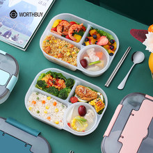 WORTHBUY Japanese Kids Lunch Box With Compartment Cup Portable Leak-Proof Food Container Storage Plastic Microwave Bento Box
