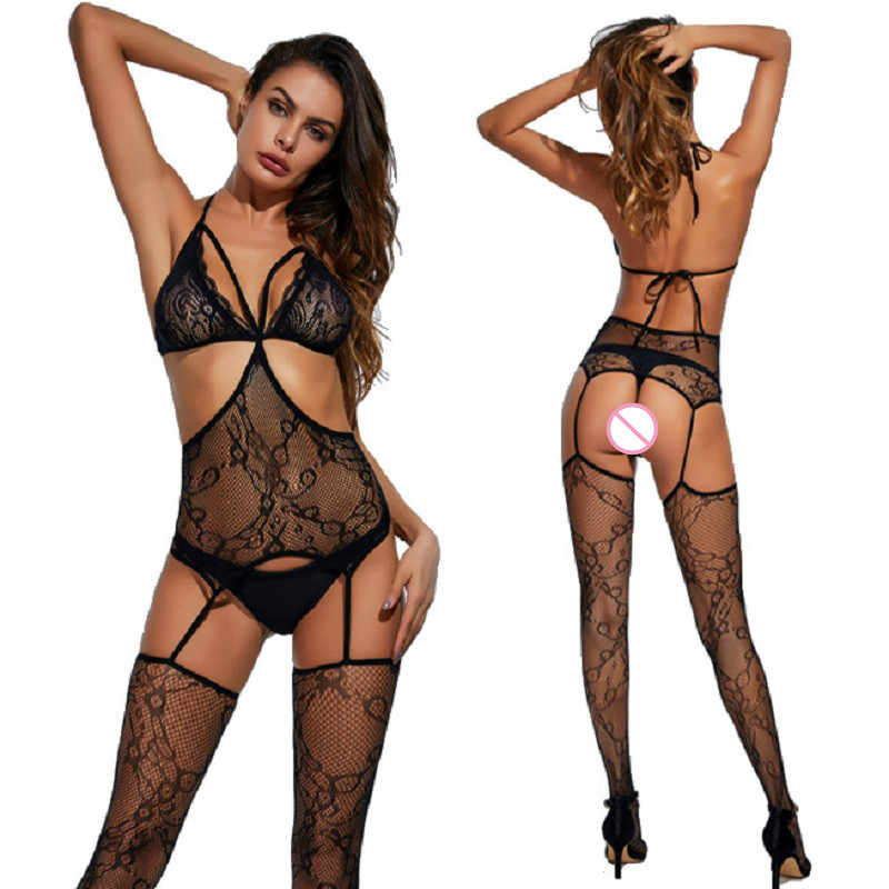 Sexy Lingerie Body Suit Black Medium Mouwen Hollow Siamese Open Kruis Netto Teddy Sexy Kostuums Bodystockings Hot