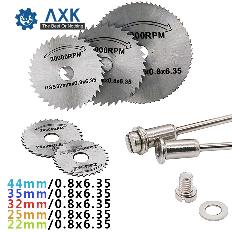6Pc 22-50mm HSS Circular Saw Blade Cutting Discs Set and Mandrel for Drill