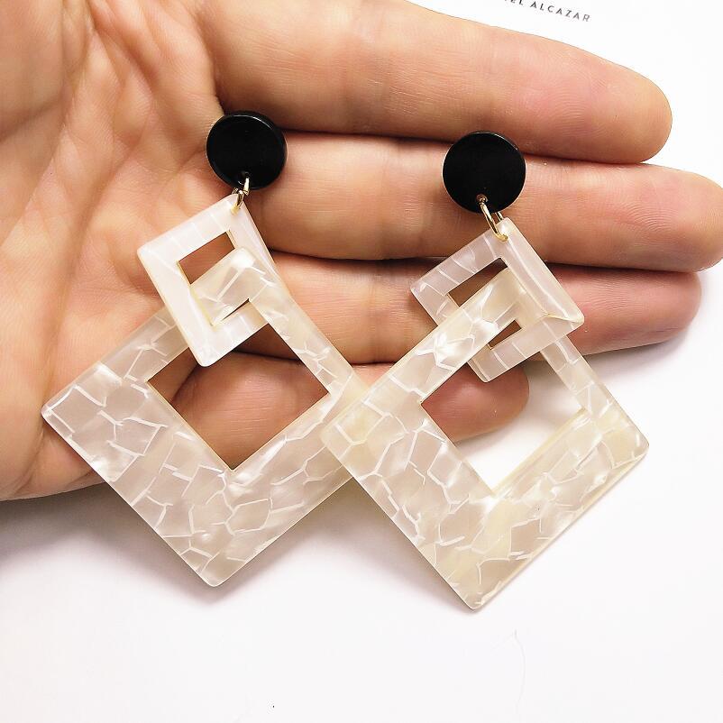 Big Geometric Earrings Korean Gold Long Acrylic heart Square Round Wooden Earrings Vintage Dangle Drop Earrings Gifts For Women