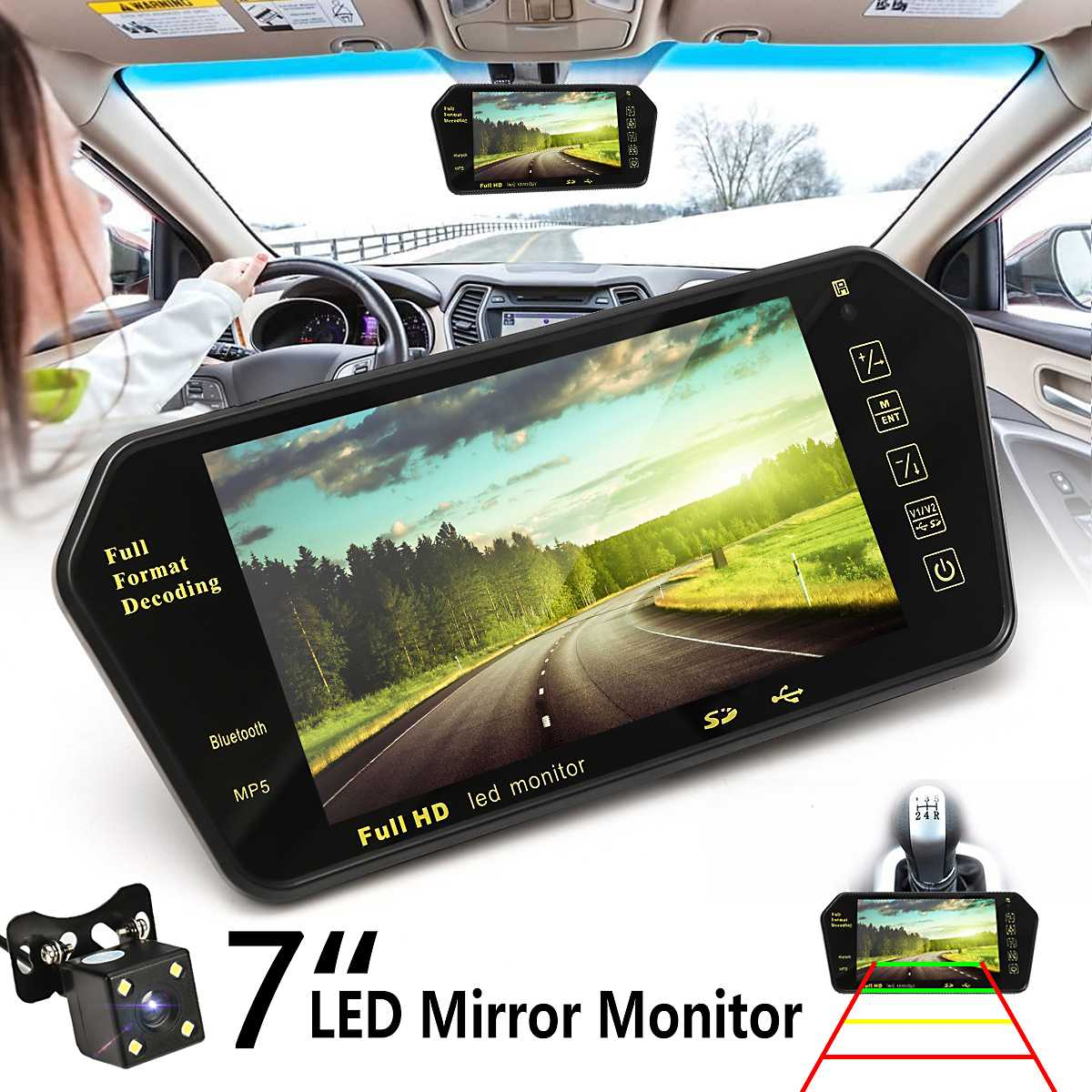 7inch LCD MP5 bluetooth Car Rear View Parking Mirror Monitor Reversing Car Camera Wireless RCA View Video Receiver Transmitter