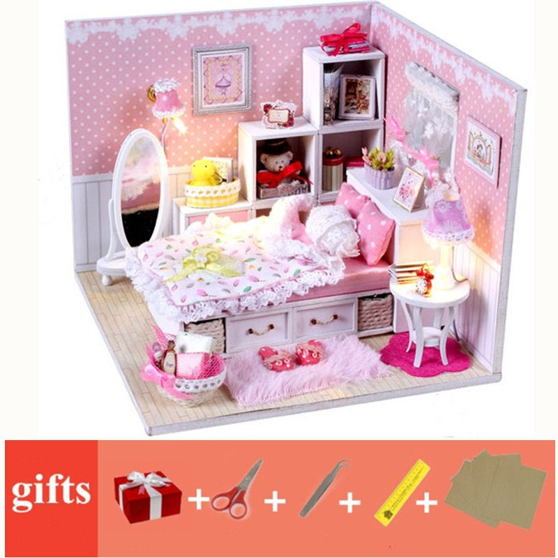 Miniature Diy Doll House Toy Doll Free Dust Cover Dollhouse Wooden Miniatures Diy Light Kit Maison Poupee En Bois Christmas Gift