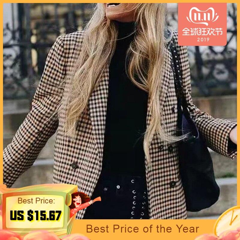 2019 модный клетчатый женский пиджак пальто Ретро кнопка костюм с сеткой куртка с подплечниками Куртка Блейзер Женские повседневные пальто