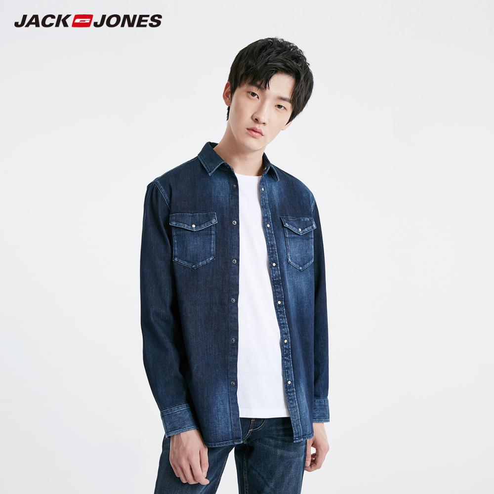 JackJones Men's Basic Casual Long-sleeved Denim Shirt Menswear| 219105551