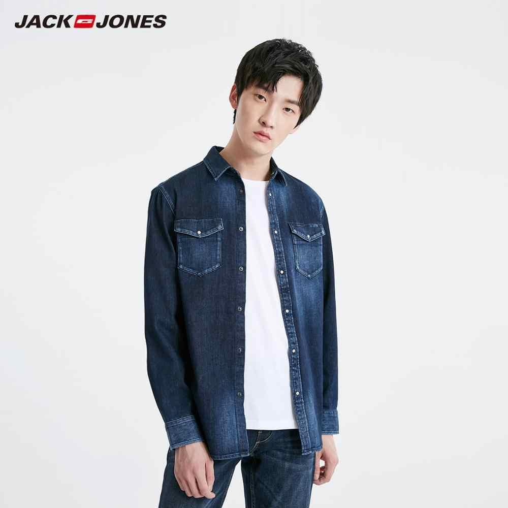 JackJones Мужская Весенняя Повседневная однотонная джинсовая рубашка с длинными рукавами Мужская одежда | 219105551