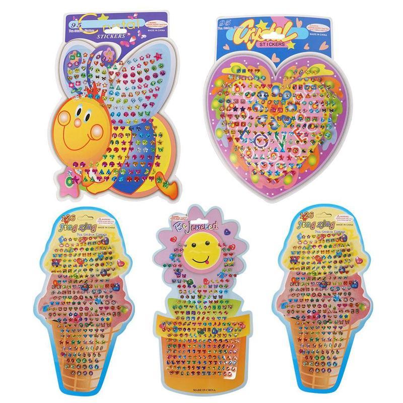 Beautiful Kids Crystal Stick Earring Sticker Toy Cartoon Stickers Toys Kindergarten Reward Stickers Diy Cute Children Toys 1pc