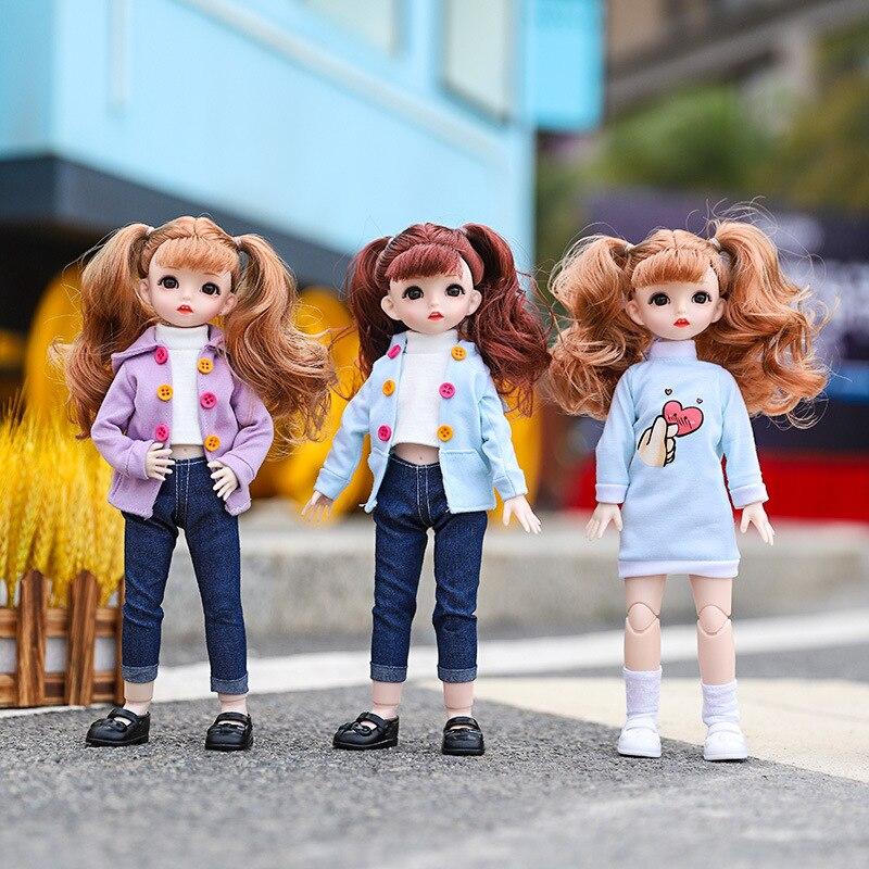 Nuevas muñecas articuladas de 12 pulgadas BJD 30cm 1/6, maquillaje, vestido, muñecas BJD con ropa de moda para niñas, regalos de juguete|Muñecas|   - AliExpress