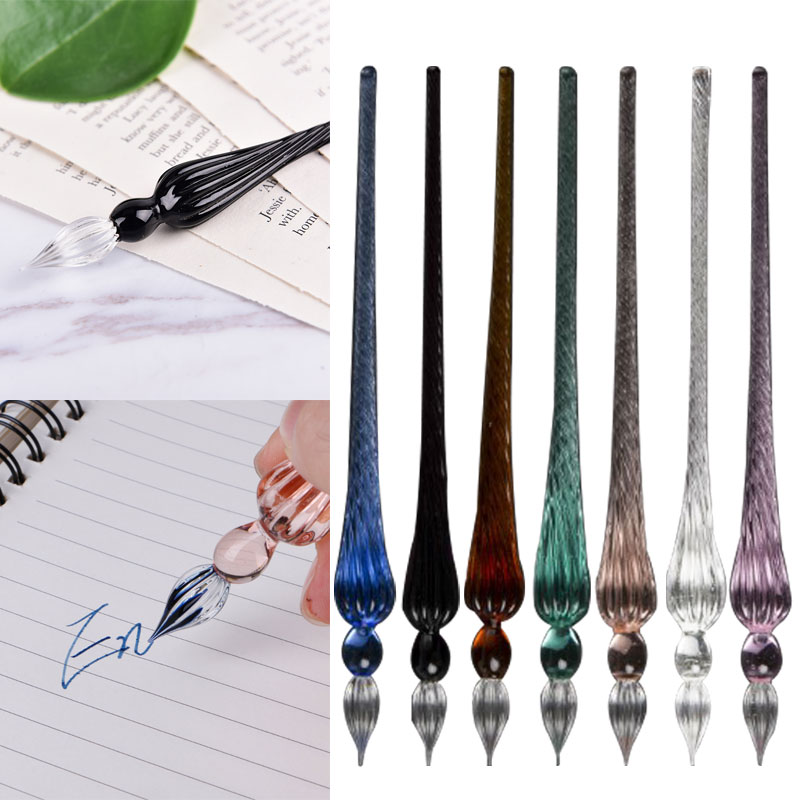 Glass Drip Fountain Pen Vintage Glass Dip Dipping Pen Signature Filling Ink Fountain Pens With Gift Box Pen Crystal Dip Sign Pen