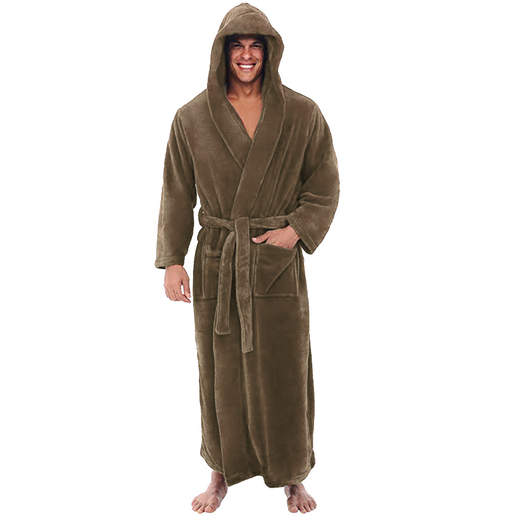 Kimono Robes Dressing-Gown Night-Sleepwear Coral-Fleece Warm Winter Plus-Size Men Flannel title=