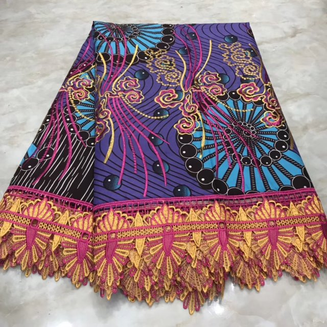 Best Selling  2019   Cotton Fabric  Women Dress  Lace High Quality Embroidered Fabric African  Ankara Lace Fabric Wax With Guipu