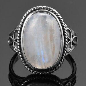 Image 3 - 11x17MM 큰 타원형 보석 선물로 여성 실버 925 보석 빈티지 파티 반지에 대한 자연 월장석 반지 도매