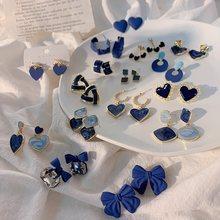 Find Me-pendientes sencillos de aleación geométricos para mujer, color azul, varios tipos de goteo, joyería