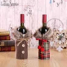 Christmas Sweater Wine Bottle Cover Newest Collar & Button Coat Wine Bottle Sweater Wine Bottle Dress Sets Xmas Party Decoration цена в Москве и Питере