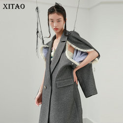XITAO Plus Size Blends Fashion New Women Tassel Patchwork Casual Full Sleeve 2020 Winter Goddess Fan Loose Blends Coat ZY2740