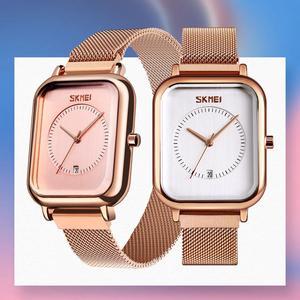 Image 5 - SKMEI Brand Womens Watches Luxury Mesh Belt Quartz Watch Fashion Ladies Dress Bracelet Waterproof Women Watch Clock