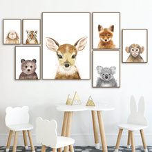 Deer Fox Rabbit Bear Tiger Koala Nursery Wall Art Canvas Painting Nordic Posters And Prints Wall Pictures Baby Kids Room Decor цена и фото