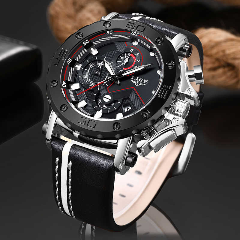 Relojes Para Hombre 2019 LIGE Mens Watches Top Brand Luxury Male Casual Leather Military Waterproof Quartz Watch Men Chronograph
