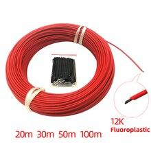 Низкая цена 20 м 30 м 50 м 100 м 12 к 33 Ом фторопласт углеродное волокно нагревательный кабель Электрический Теплый провод Minco обогреватель горячей линии