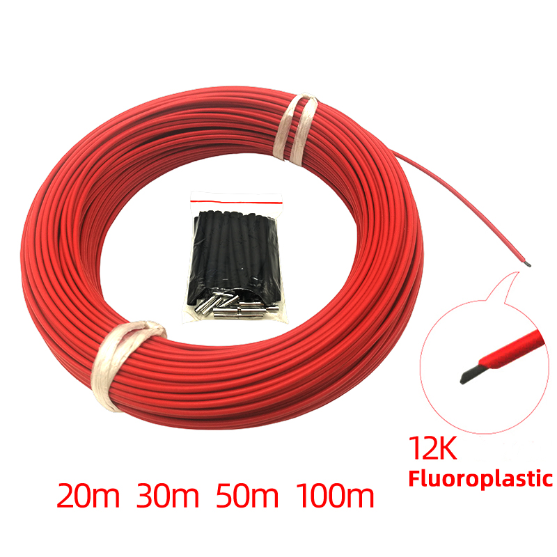 Low Price 20M 30M 50M 100M 12k 33Ohm Fluoroplastic Carbon Fiber Heating Cable  Electric Warm Wire Minco Heat Room Heater Hotline