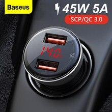 Baseus 45W métal double USB Charge rapide 4.0 3.0 chargeur de voiture SCP QC4.0 QC3.0 rapide voiture USB chargeur pour iPhone Xiaomi téléphone portable
