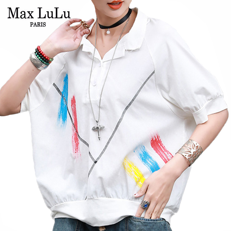 Max LuLu 2020 New Fashion Tops Summer Streetwear Ladies Printed Cotton Shirts Womens Casual Loose Blouses Female Punk Clothing