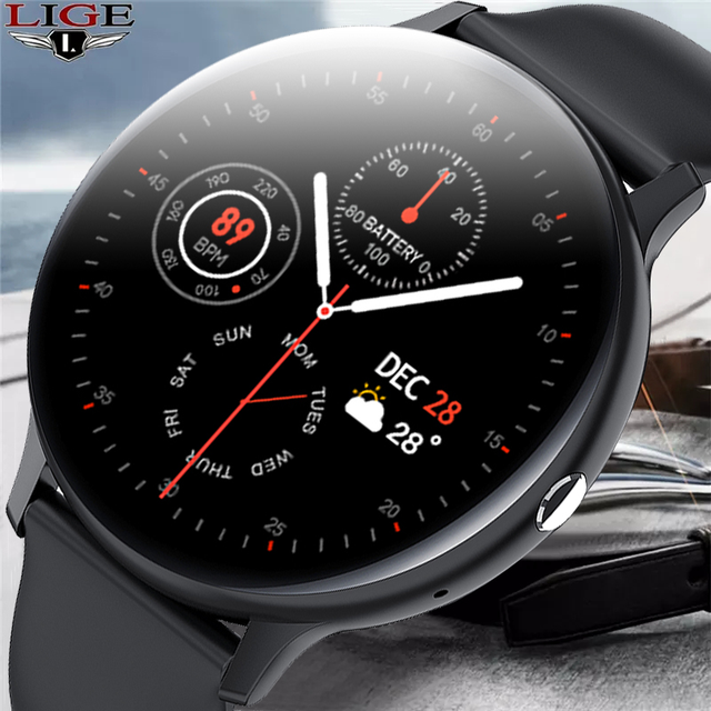 LIGE New 2021 Smart Watch Men Full Touch Screen Sports Fitness Watch IP67 Waterproof Bluetooth For Android ios smartwatch Mens 1