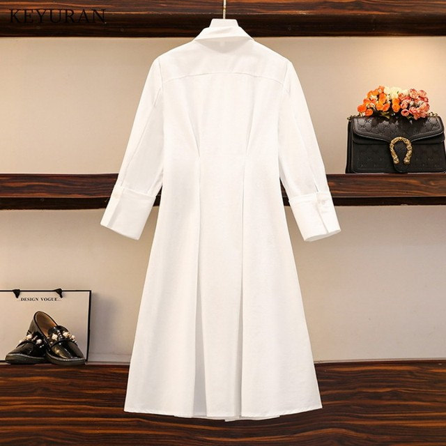 Long Shirt Two Piece Set  Turn Down Collar White Shirt Dress And Vest Tops 6