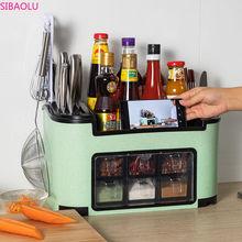 Fashionable Multifunctional Kitchen Rack Seasoning Box Seasoning Jar Bottle Set Combination Knife Rack