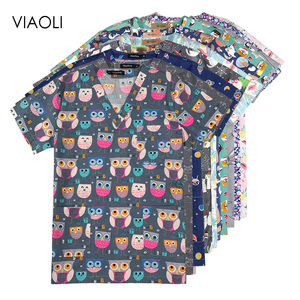 High Cartoon print surgical uniforms pharmacy hospital nurse scrubs tops breathable beauty salon dentistry pet doctor overalls