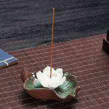 Ceramic Incense Burners Buddha Stick Holder Simple Censer Boat Flowers Shape for Home Decoration