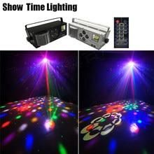 Leistungsstarke Dj Led Laser Muster Strobe 4 IN 1 Disco Licht Mit Fernbedienung Gute Wirkung Für Party KTV Club hochzeit