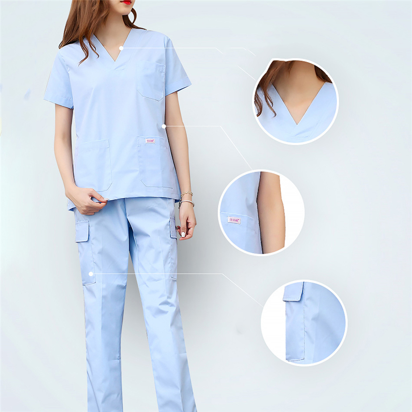 Women Men Medical Uniforms Nursing Scrubs Surgical Suit Doctor Clothing Lab Coat Clinical Top Pants Pharmacy Beauty Hospital