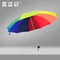 Neue Stil Südkorea Stil 10 Knochen Klapp Drei Falten Regenbogen Regenschirm Hersteller Anpassbare Logo Manuelle College Stil Rai auf