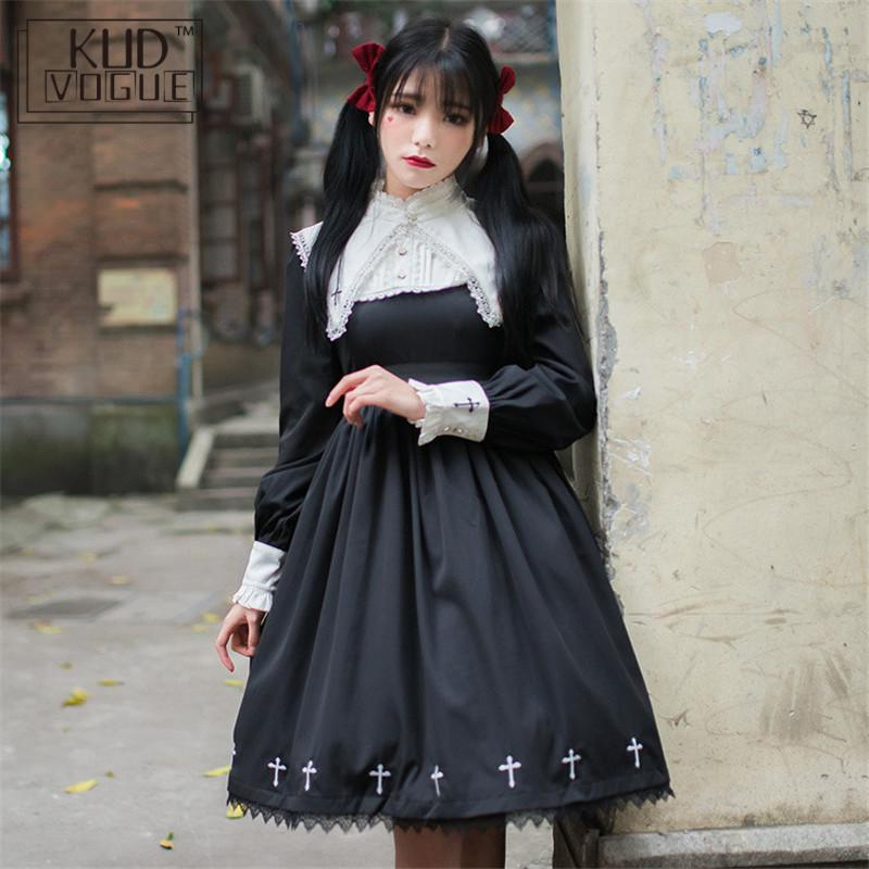 Gothic Lolita Dress Black Lace Dress Women Cross Pattern Embroidery Girls Cosplay Nun Sister Dress Red White Punk Girls Dresses
