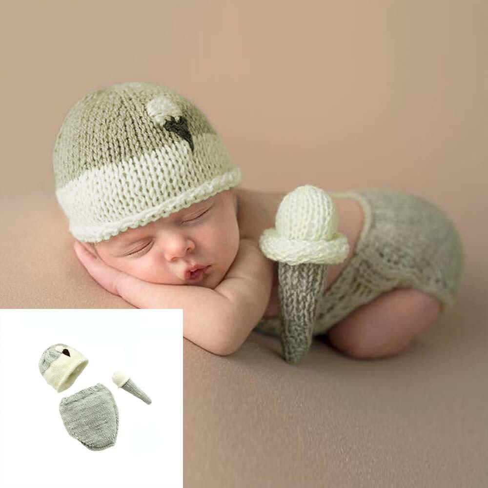 3PCS 2020 Newborn Photography Props Handmade Wool Ice Cream Set Hat+Shorts+Doll Baby Girl Kids Clothing Studio Shoot Accessories