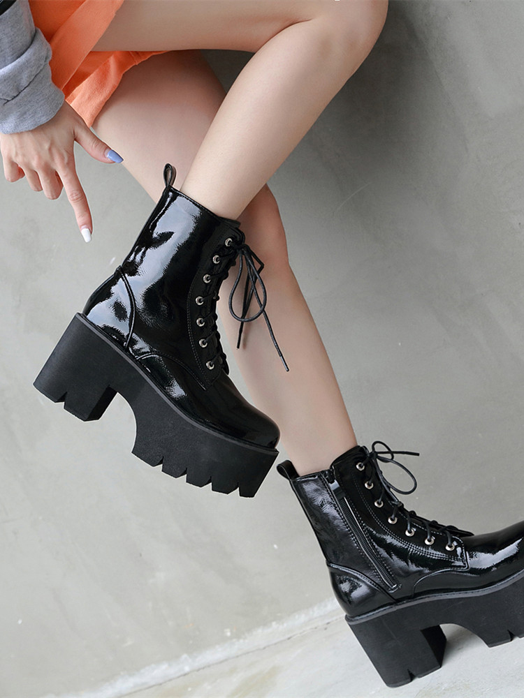 Gdgydh Autumn Boots Lace Wedge Platform Black Punk Chunky Goth Patent Leather Womens