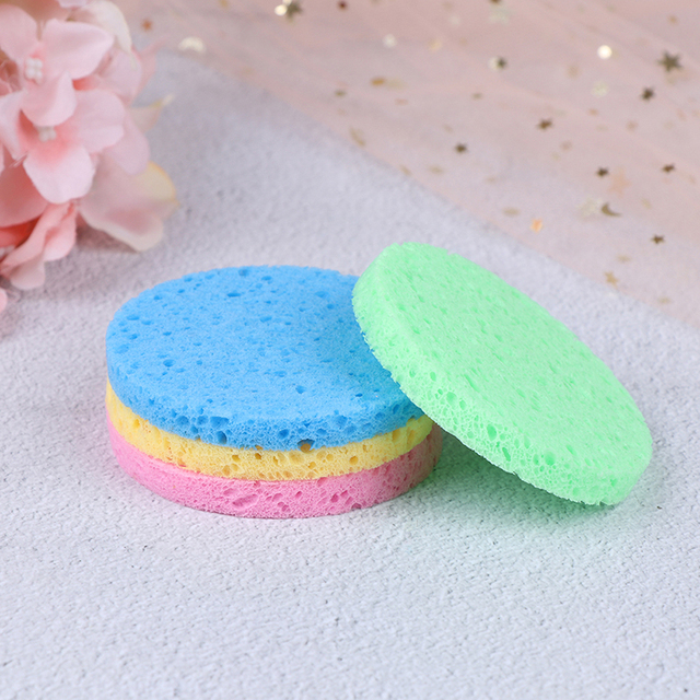 5pcs Natural Wood Round Solid Color Sponge Compress Cosmetic Puff Facial Washing Sponge Face Care Cleansing Makeup Tools NEW 3