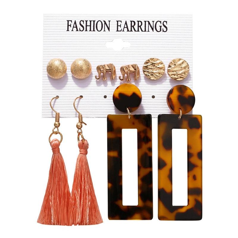 17 км акриловые серьги с кисточками для женщин, богемные серьги, набор больших геометрических висячих сережек Brincos, Женские Ювелирные изделия DIY - Окраска металла: Earrings Set 25
