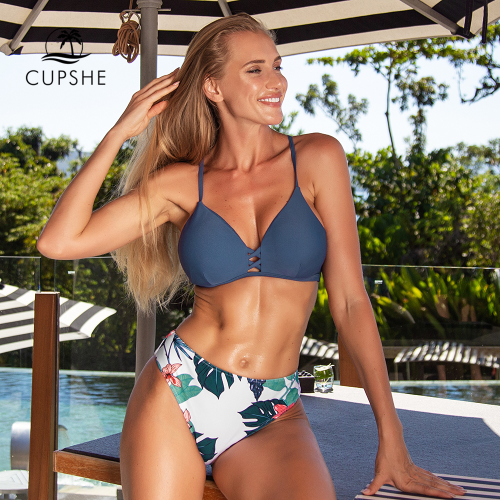 CUPSHE Navy And Floral Strappy Mid-waisted Bikini Sets Sexy Cut Out Swimsuit Two Pieces Swimwear Women 2020 Beach Bathing Suits